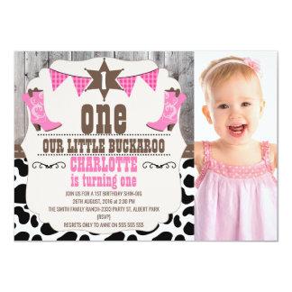 Girls Hot Pink Wild West 1st Birthday Invitation