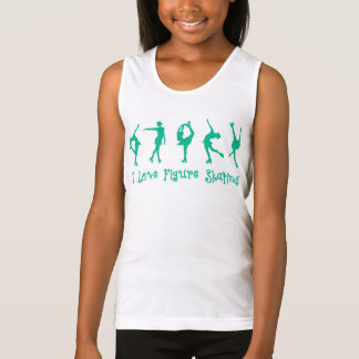 "Girls ""I love figure skating tank top"" teal & pink"