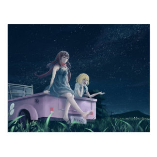 Girls in a Truck Nighttime Anime Postcard
