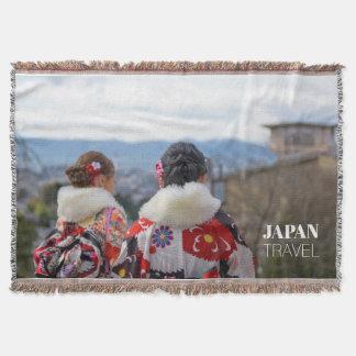 Girls in Kimono, Kyoto, Japan Travel Souvenir Throw Blanket