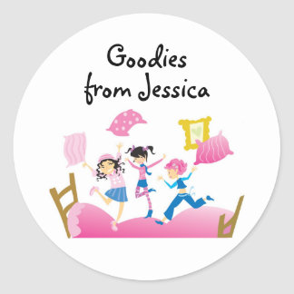 Girls Jumping on Bed Label