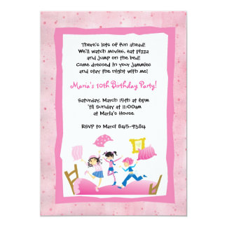 Girls Jumping on Bed Sleepover Invitations