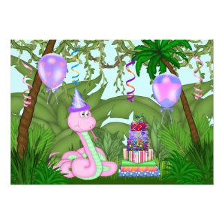 Girls Jungle Pink Snake Birthday Party Invitation