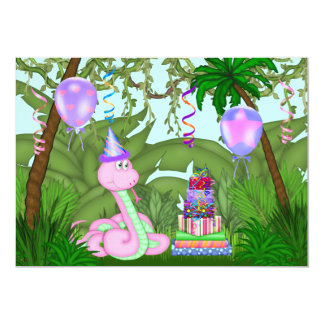 Girls Jungle Pink Snake Birthday Party Invitation