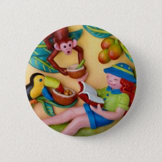 Girl's Jungle Safari Birthday 2 Inch Round Button