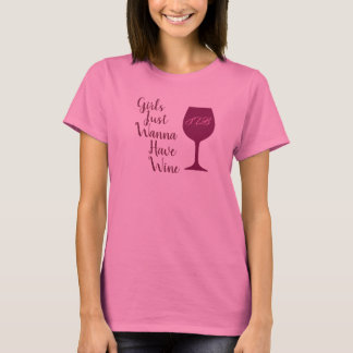 Girls Just Wanna Have Wine Personalized Initials S T-Shirt