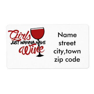 Girls just wanna have wine shipping label
