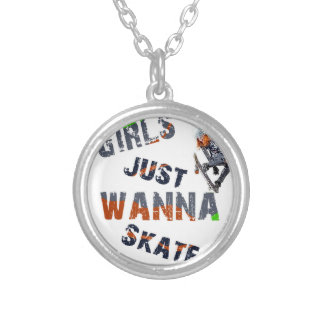 Girls just wanna skate silver plated necklace