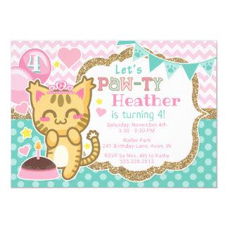 Girl's Kitty Princess Birthday Paw-ty Invitation