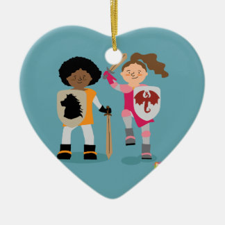 Girls Knight out Ceramic Heart Ornament