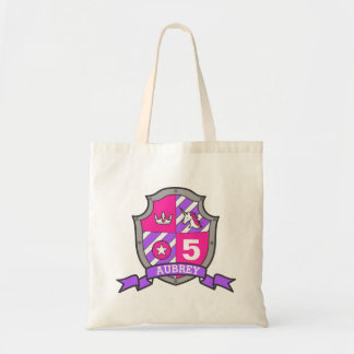 Girls knight shield personalized library bag