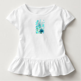Girl's knit dress with palm leaves, turquoise