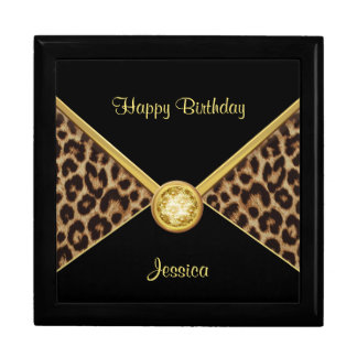 Girls Leopard Print Birthday Keepsake Gift Box