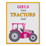 Girls like tractors too nursery pink tractor print posters