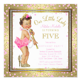 Girls Little Lady 5th Birthday Party Pink Gold Card