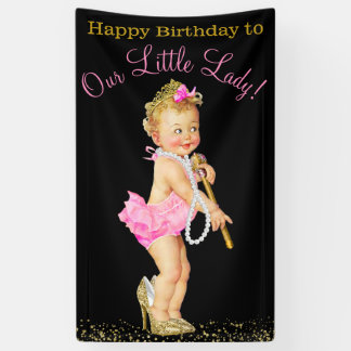Girls Little Lady High Heels Pearls Birthday Party Banner