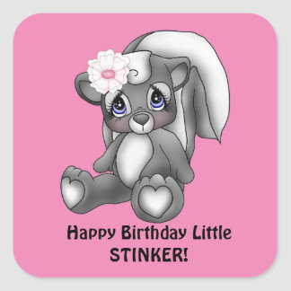 Girls little stinker Birthday sticker