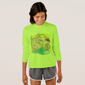 Girl's long sleeve tshirt lime with smiling pig