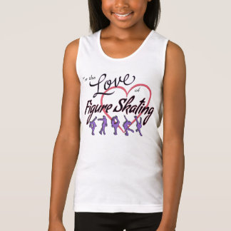 "Girls ""love figure skating tank top"" pink/purple"