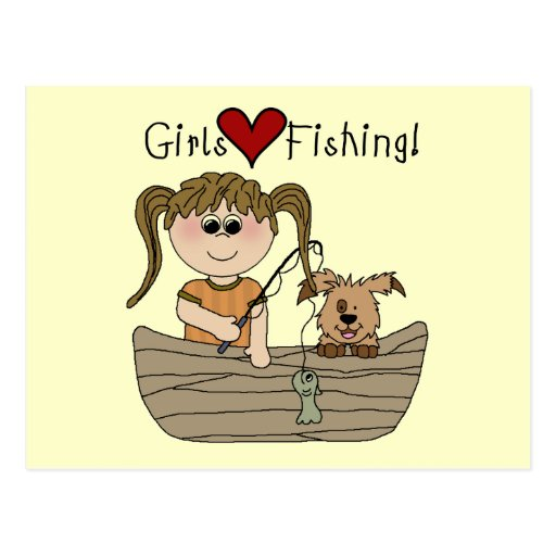 Girls Love Fishing T-shirts and Gifts Postcards