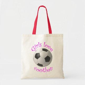 Girls Love Football art Tote Bag