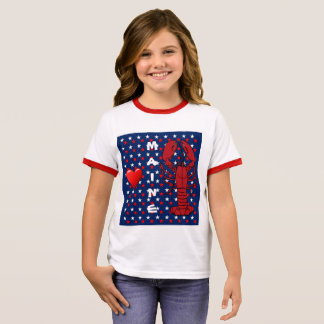 Girls Love Maine Red Lobster T-shirt, Patriotic Ringer T-Shirt