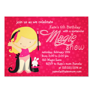 Girls Magic Theme Birthday Custom Invitation