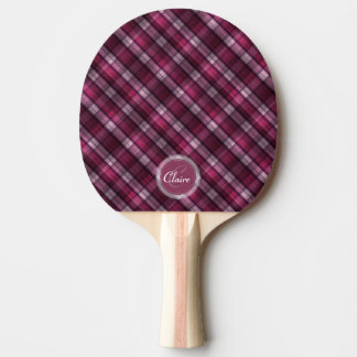 Girl's Modern Pink Plaid Ping-Pong Paddle