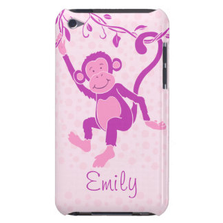 Girls monkey purple & pink name ipod touch case