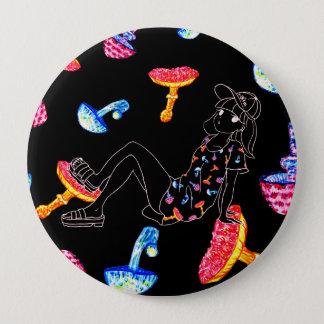 Girls-mushroom 4 Inch Round Button