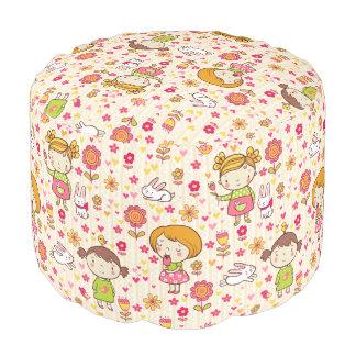 Girls n' Bunnies Sturdy Spun Polyester Round Pouf