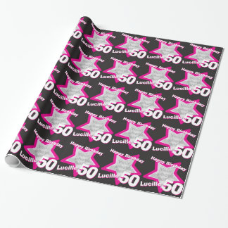 Girls name 50th birthday photo pink black wrap wrapping paper