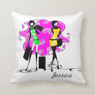 Girls name fashion models trendy throw pillow