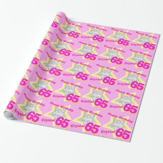Girls name photo 65th birthday pink & yellow star wrapping paper