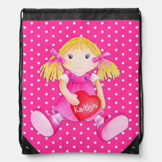 Girls name pink toy rag doll art drawstring bag