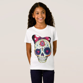 girls new school sugar skull tee shirt