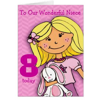 Girls Niece 8th birthday card girlie pink