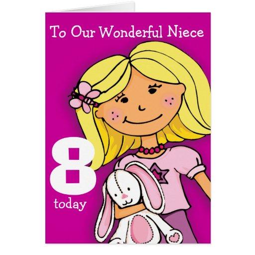 Girls Niece 8th birthday card girlie purple
