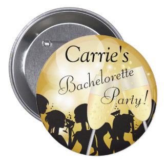 Girls Night Out Bachelorette Party in Gold Bokeh 3 Inch Round Button