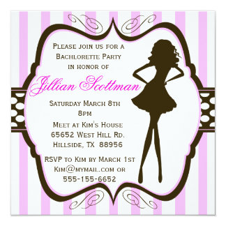 "Girls Night Out Bachlorette Party Invitation 5.25"" Square Invitation Card"
