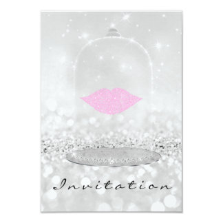 Girls Night Out Birthay Party Lips Silver Glitter Card