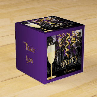 Girls Night Out Birthday Party | Metallic Purple Favor Box