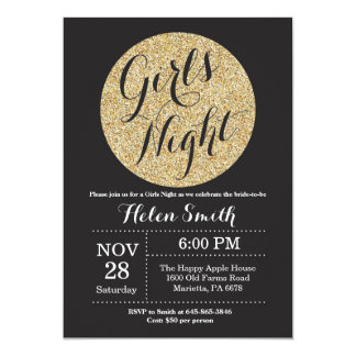 Girls Night Out Black and Gold Glitter Invitation