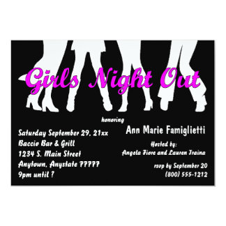 Girl's Night Out Black And White Invitations