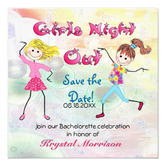 "Girl's Night Out - Save the Date 5.25"" Square Invitation Card"