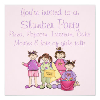 "Girl's Night Slumber Party 5.25"" Square Invitation Card"