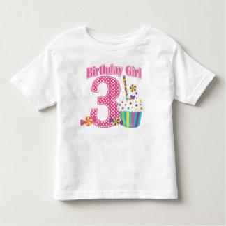 Girls Number 3 Cupcake Birthday T shirt