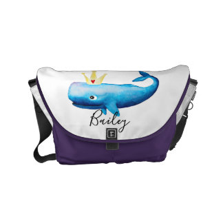 Girl's Ocean Watercolor Whale Beach & Name Diaper Courier Bags