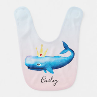 Girl's Ombre Watercolor Princess Whale Beach Name Bib