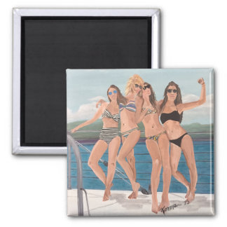 Girls on a yacht magnet